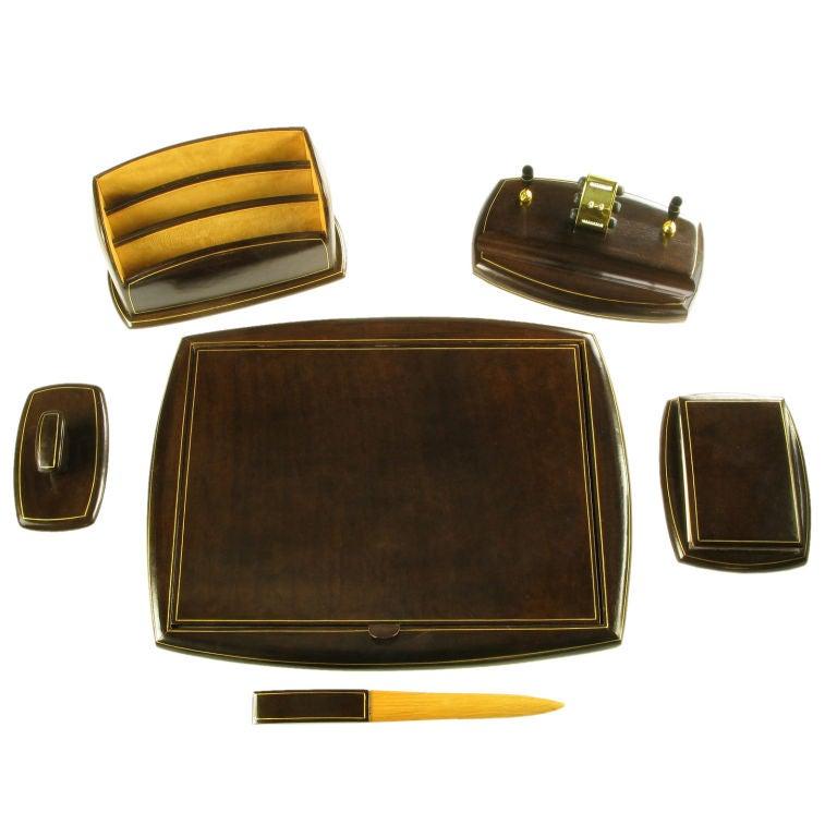 1950s Italian Six Piece Leather Desk Set At 1stdibs