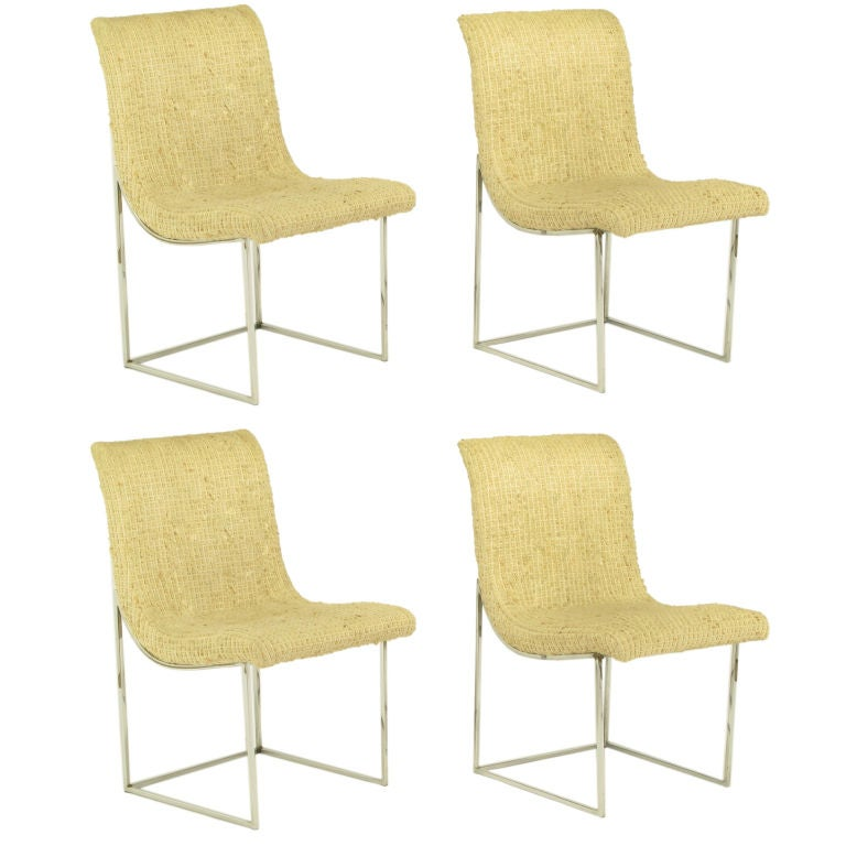 Set Four Chrome Milo Baughman Scoop Dining Chairs At 1stdibs