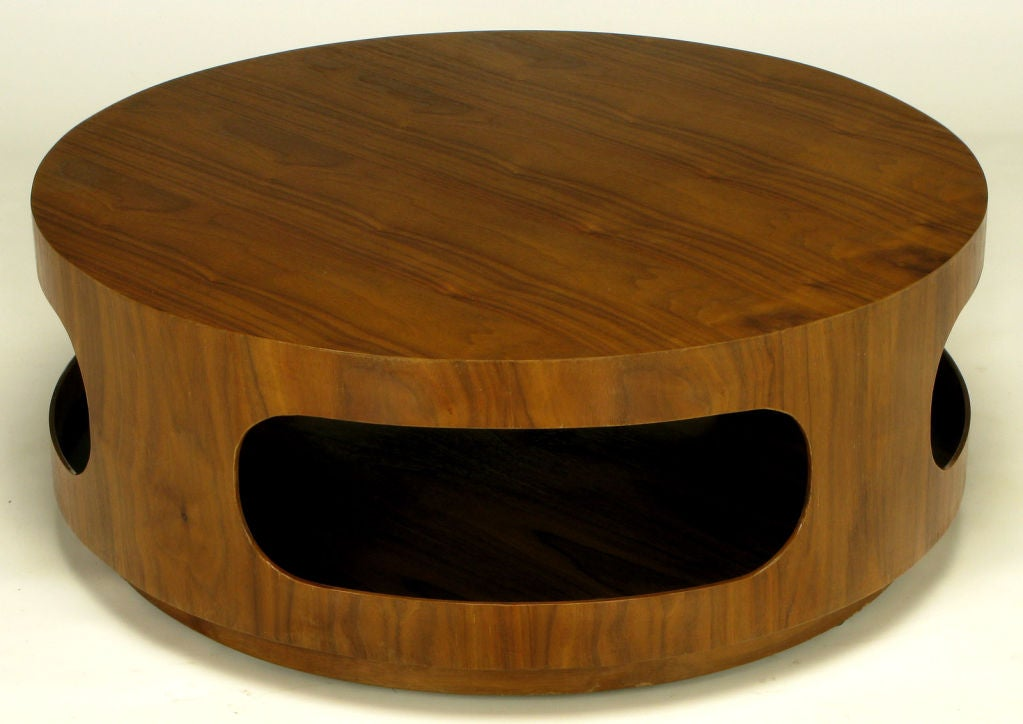 Round Walnut Coffee Table With Four Racetrack Oval Openings At 1stdibs