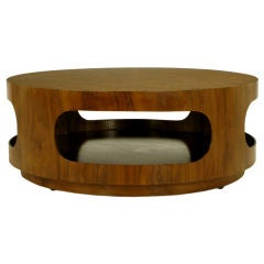 Round Walnut Coffee Table With Four Racetrack Oval Openings