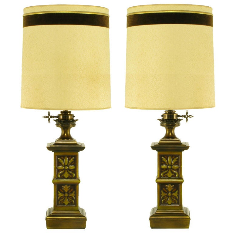 pair heavy brass english arts and crafts style table lamps. Black Bedroom Furniture Sets. Home Design Ideas