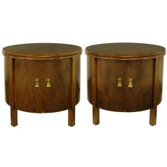 Pair Round Rosewood & Walnut Commodes With Double Doors
