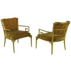 Pair Italian Brass Chairs With Greek Key Arms