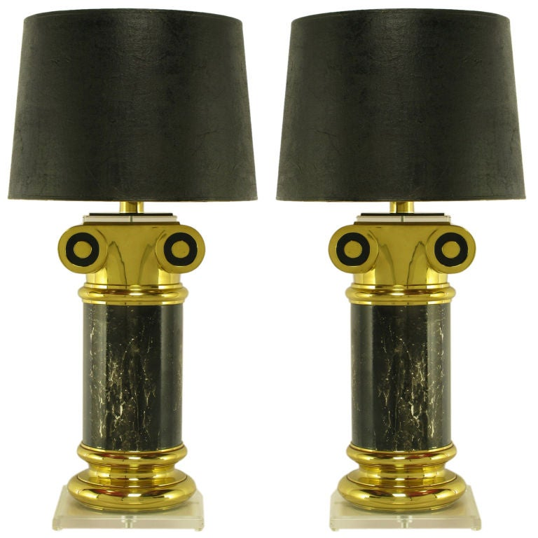 Pair Overscale Ionic Column Table Lamps In Brass & Lucite