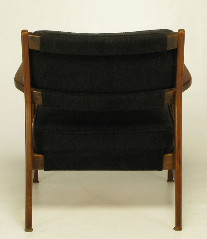 Danish Teak Arm Chair In Black Striped Chenille At 1stdibs