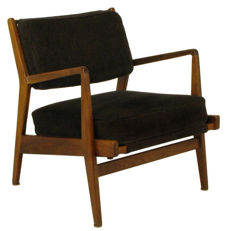 Danish Teak Arm Chair In Black Striped Chenille At 1stdibs