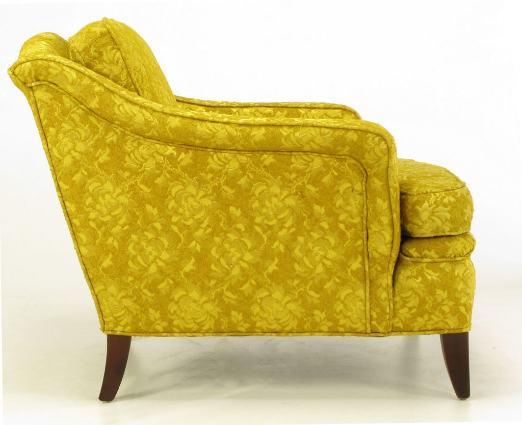 American 1940s Button Tufted Club Chair In Gold Damask For Sale