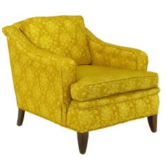 1940s Button Tufted Club Chair In Gold Damask