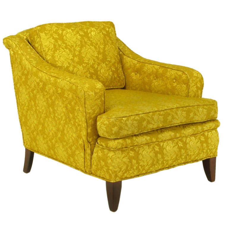 1940s Button Tufted Club Chair In Gold Damask For Sale At