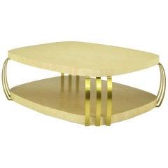 Henredon Limed Oak & Brass Bar Postmodern Coffee Table