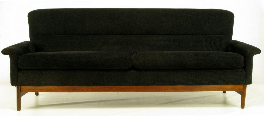 Danish Teak Wood And Black Chenille High Back Sofa At 1stdibs