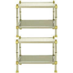 Pair Chrome & Brass Square End Tables With Smoked Glass