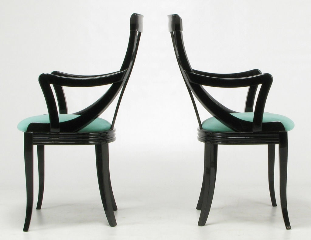 eight italian black lacquer turquoise ultrasuede dining chairs image