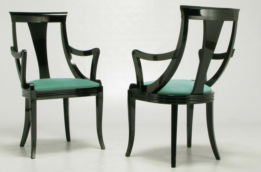 eight italian black lacquer and turquoise ultrasuede