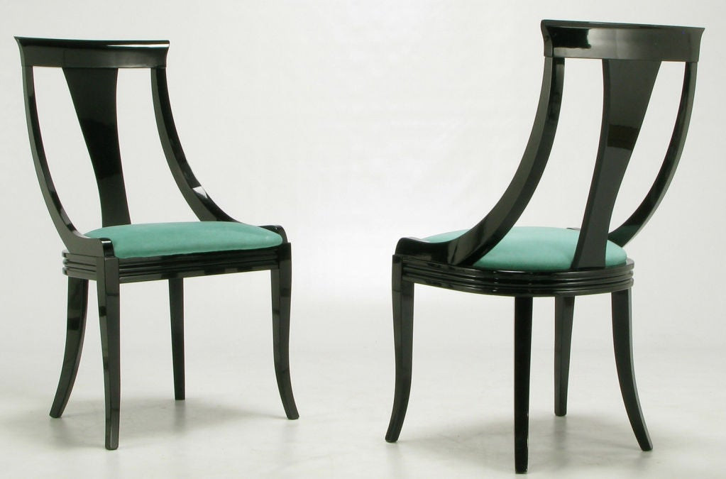 eight italian black lacquer turquoise ultrasuede dining