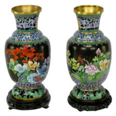 Pair Black Cloisonne Vases With Carved & Lacquered Bases