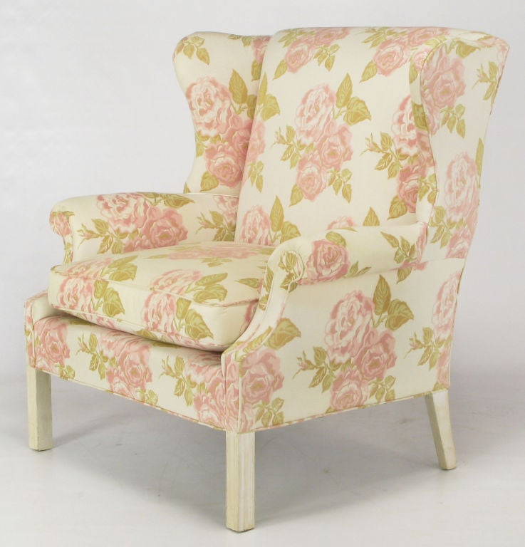 Pair Extra Wide Chippendale Wing Chairs In Rose Pattern Fabric At 1stdibs