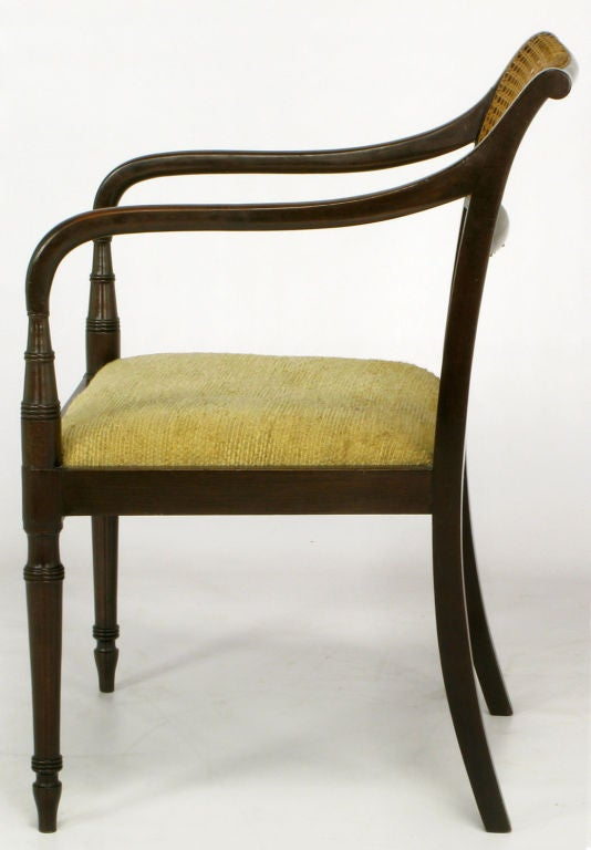 Dark Walnut And Cane Regency Arm Chair With Upholstered