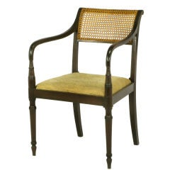 Dark Walnut & Cane Regency Arm Chair With Upholstered Seat
