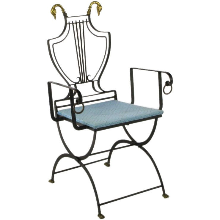 Lyre Back Black Wrought Iron Arm Chair With Swan Heads U0026 Feet For Sale