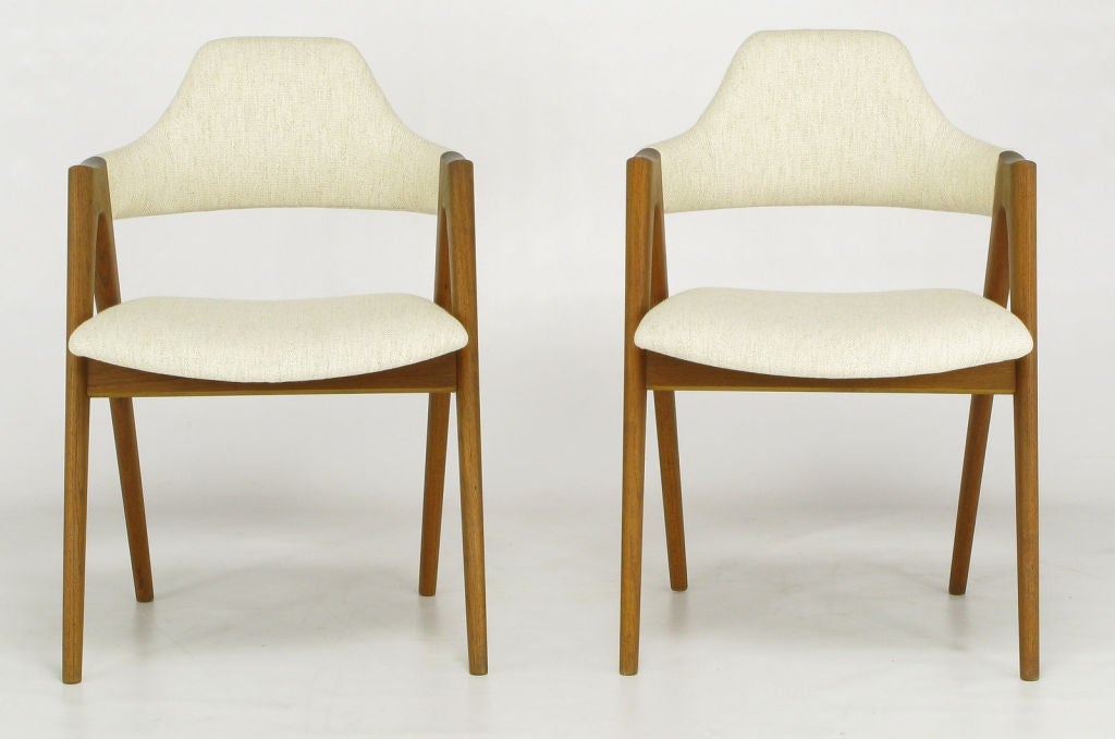 Set of six dining chairs in refinished sculptural teak framing by the Danish designer, Kai Kristiansen, for SVA Mobler. Newly upholstered in Stroheim & Roman natural hemp linen