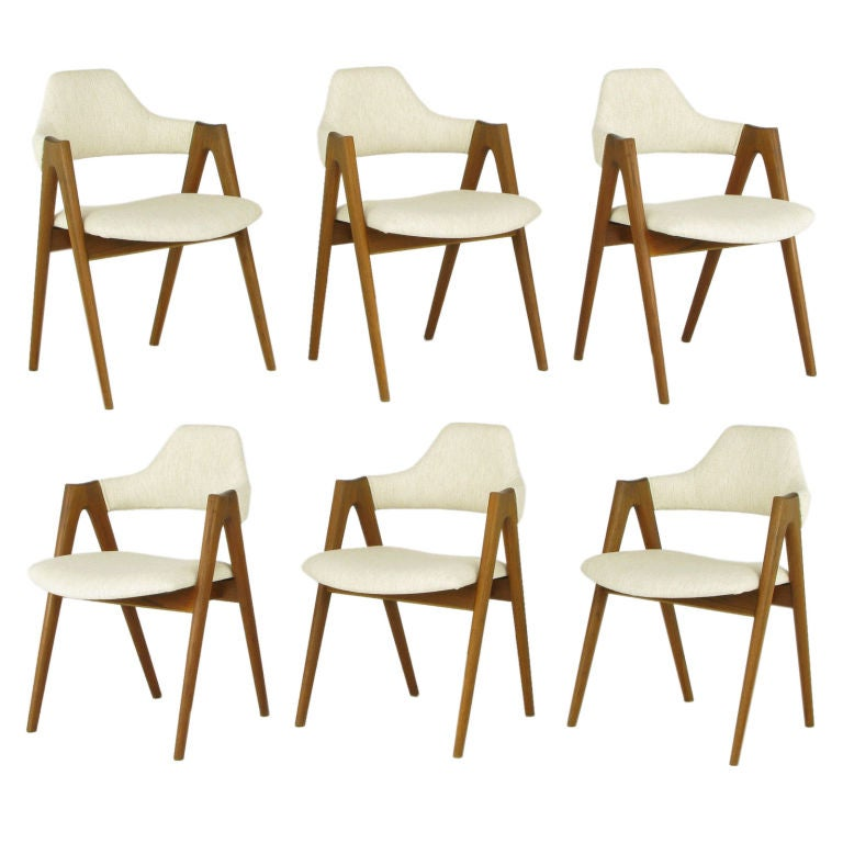 "Set Six Kai Kristiansen Teak ""Compass"" Dining Chairs"