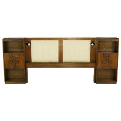Walnut King Headboard With Patchwork Block Front Night Stands