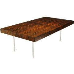 Large Custom Designed Rosewood & Chrome Floating Desk