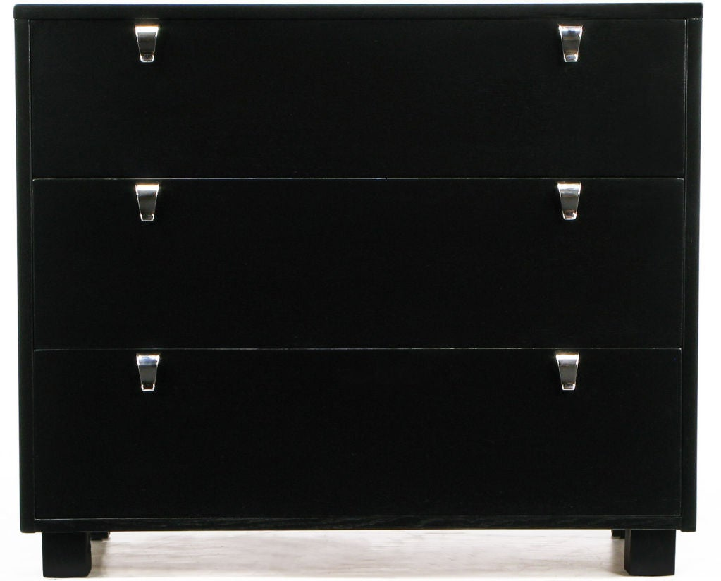 Pair Kent-Coffey Black Lacquered Commodes With Nickel Pulls 2