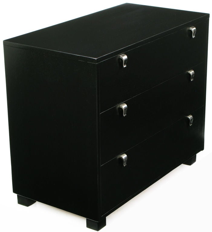 Pair Kent-Coffey Black Lacquered Commodes With Nickel Pulls 3