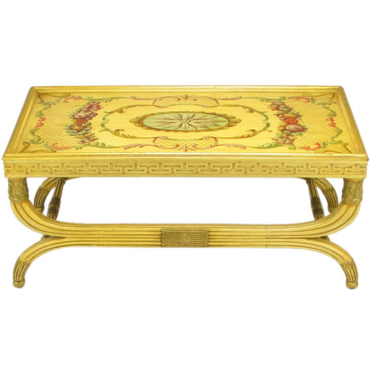 Saffron Lacquer Empire Coffee Table Hand Painted And Parcel Gilt At 1stdibs