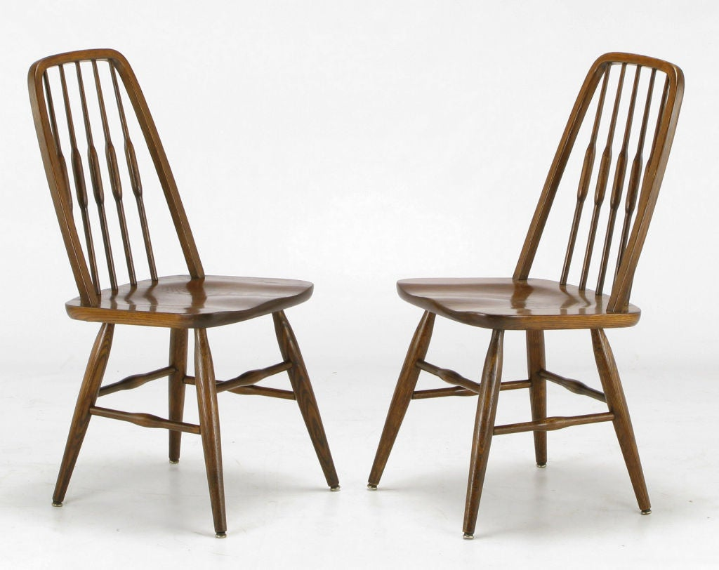 Oak Spindle Dining Chairs ~ Set six dinaire oak spindle back dining chairs at stdibs