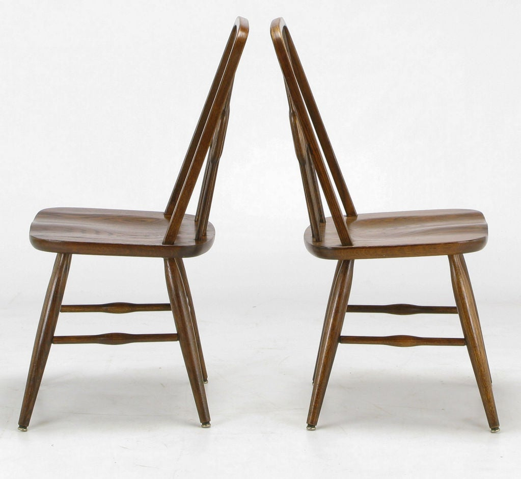 Set Six Dinaire Oak Spindle Back Dining Chairs at 1stdibs