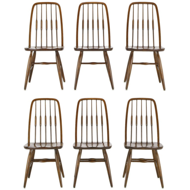 Set Six Dinaire Oak Spindle Back Dining Chairs 1