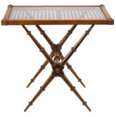 Bamboo & Cane X-Base High/Low Walnut  End Table