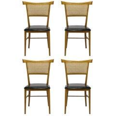 Set Four Paul McCobb Maple & Black Vinyl Dining Chairs