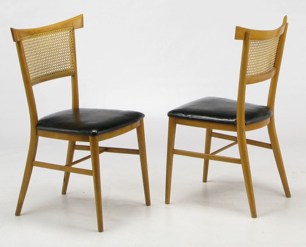 set four paul mccobb maple and black vinyl dining chairs at 1stdibs