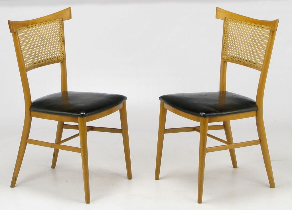 Set Four Paul McCobb Maple and Black Vinyl Dining Chairs  : 841912718641003 from 1stdibs.com size 1024 x 738 jpeg 72kB