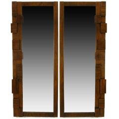 Pair Tall & Narrow Block Front Walnut Mirrors