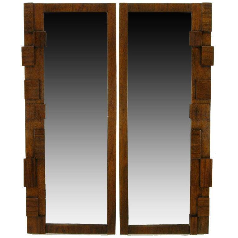 Pair tall and narrow block front walnut mirrors at 1stdibs for Tall skinny mirror