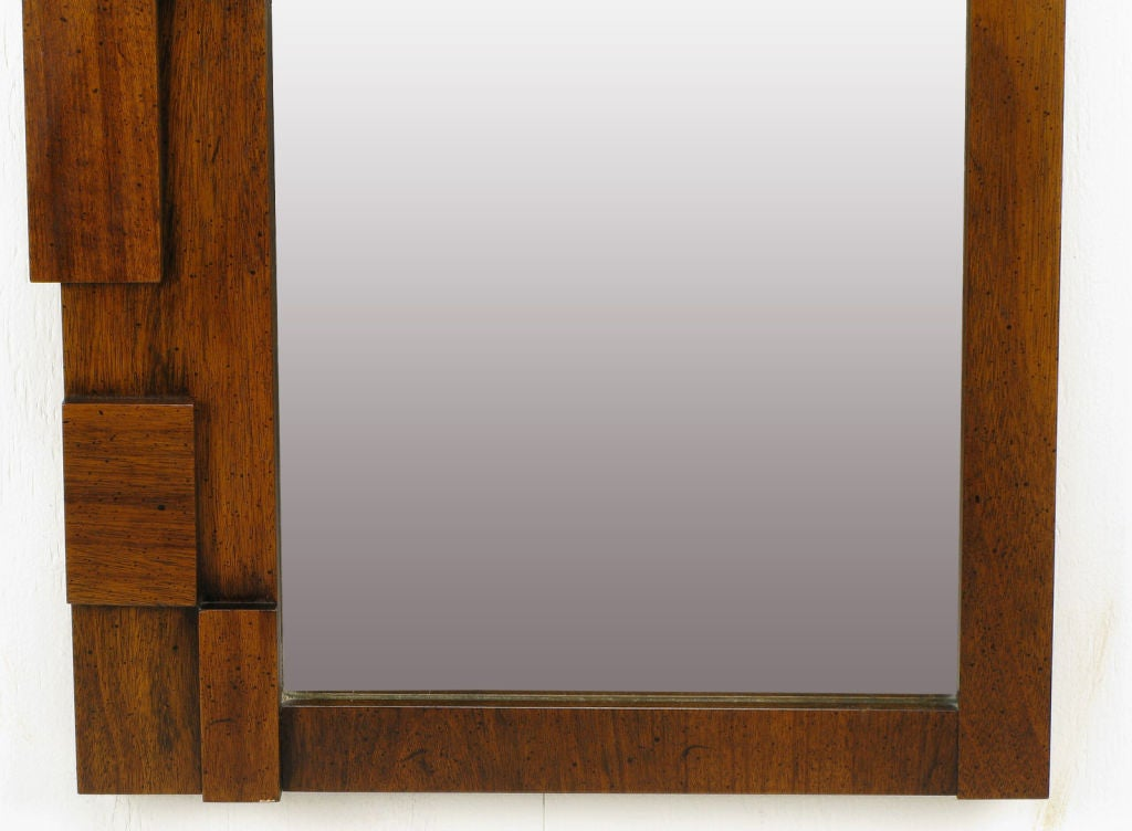Pair tall and narrow block front walnut mirrors at 1stdibs for Narrow mirror