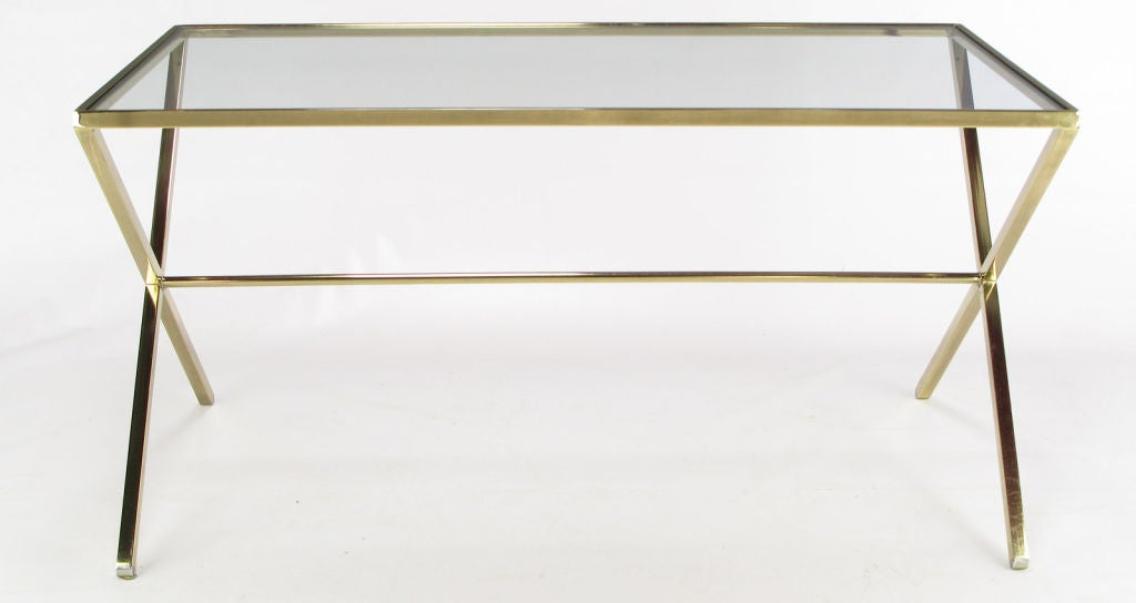 elegant gold aluminum and glass x leg trestle table at 1stdibs