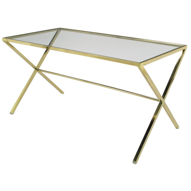 Elegant Gold Aluminum And Glass X-Leg Trestle Table At 1stdibs