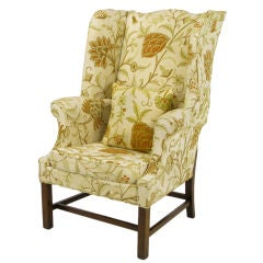 Stately Hickory Crewel Upholstered Sculpted Wing Chair
