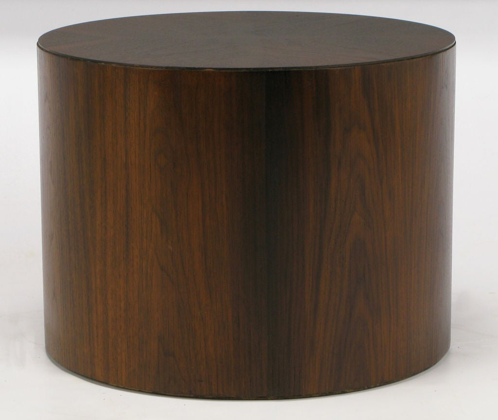 Rosewood Cylinder Drum End Table With Book Matched Top at 1stdibs