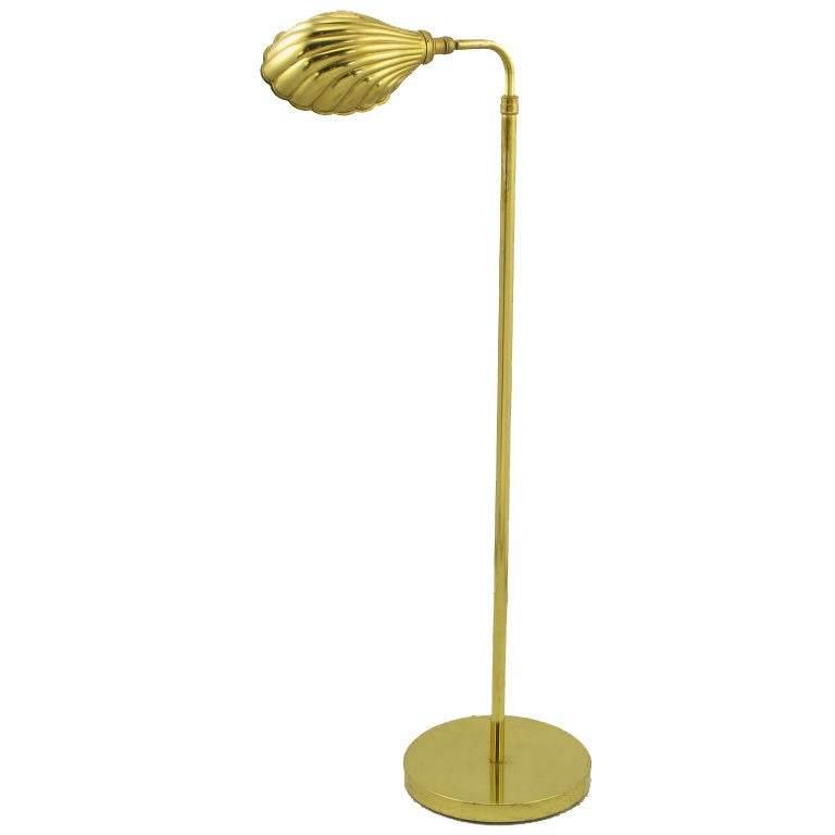 Brass shell shade reading floor lamp at 1stdibs for Floor lamps reading lights