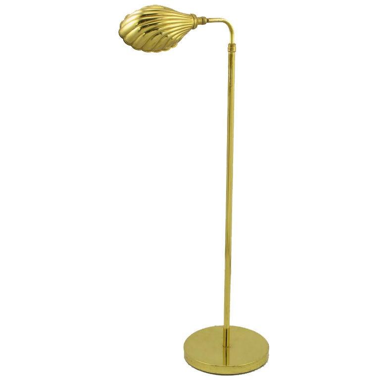 brass shell shade reading floor lamp at 1stdibs. Black Bedroom Furniture Sets. Home Design Ideas