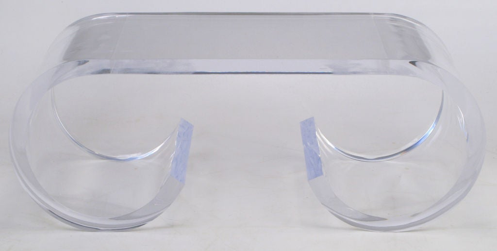 Thick Lucite Scroll Form  Coffee Table image 2