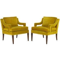 Pair Saffron Velvet Upholstered Open Arm Regency Club Chairs.