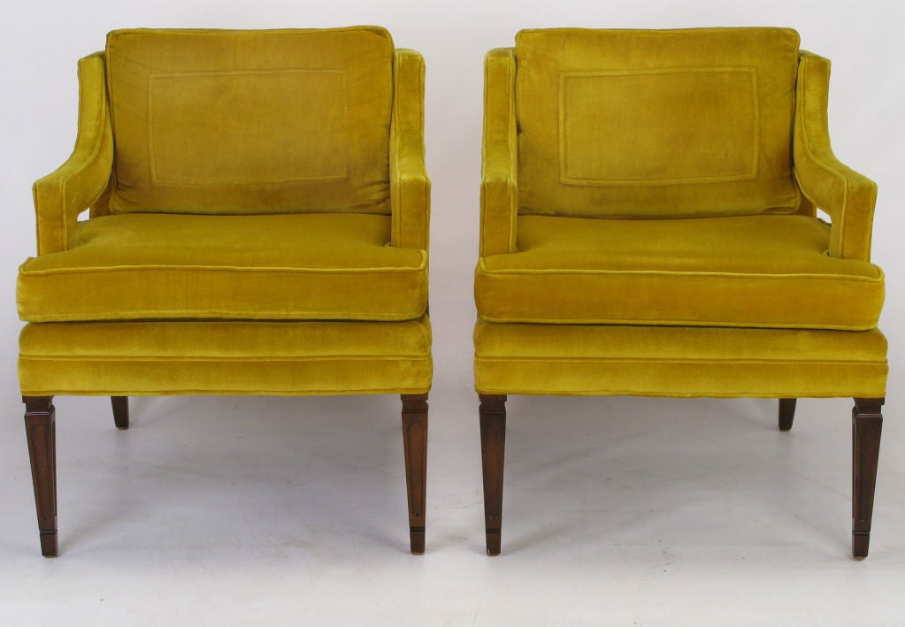 American Pair Saffron Velvet Upholstered Open Arm Regency Club Chairs.